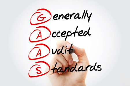 registros contables: Hand writing GAAS - Generally Accepted Audit Standards with marker, acronym business concept Foto de archivo