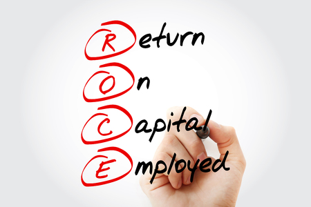 drawback: Hand writing ROCE - Return On Capital Employed acronym with marker, concept background Stock Photo