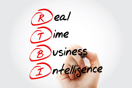 latency: Hand writing RTBI - Real Time Business Intelligence with marker, concept background