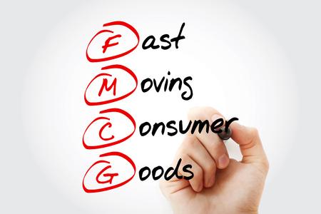 手書き FMCG-マーカー付きの消費者向け商品の頭字語の高速移動、コンセプトの背景