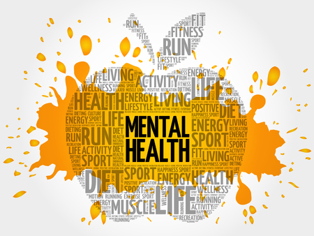 Mental health word cloud Illustration