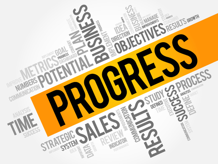 common goal: Progress word cloud collage, business concept background