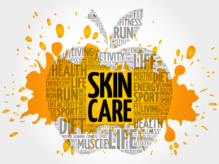Skin care apple word cloud, health concept background