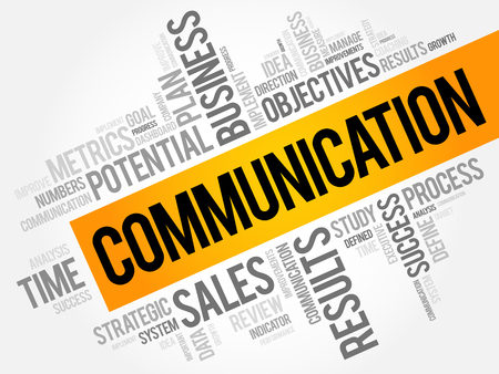 Communication word cloud collage, business concept background