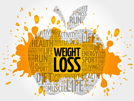 nutritional: WEIGHT LOSS apple word cloud, health concept background