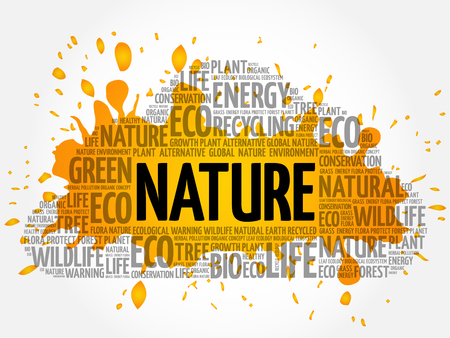 Nature word cloud, conceptual green ecology background