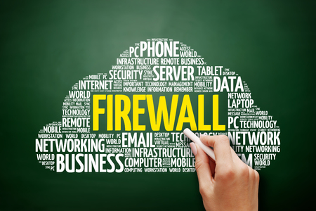 FIREWALL word cloud collage, technology concept on blackboard Stock Photo