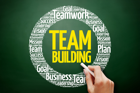 Team Building plan word cloud collage, business concept on blackboard Stock Photo