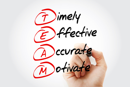 TEAM - Timely, Effective, Accurate, Motivate, acronym business concept Stock Photo