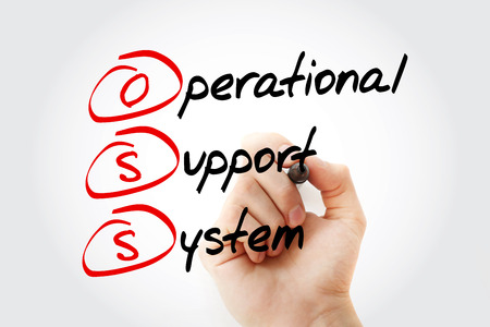 operational: Hand writing OSS - Operational support system with marker, concept background