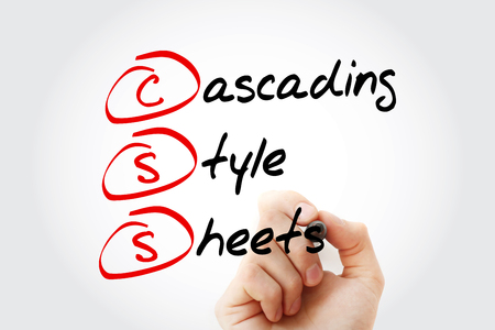 Hand writing CSS- Cascading Style Sheets with marker, concept background Stock Photo