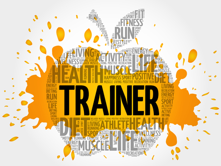 Trainer apple word cloud, health concept Illustration