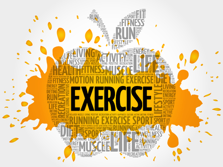 EXERCISE apple word cloud, health concept