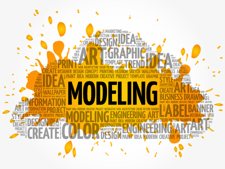 MODELING word cloud, creative business concept background Illustration