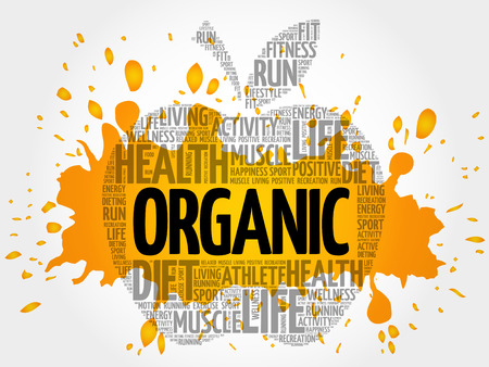 carbohydrate: ORGANIC apple word cloud, health concept Illustration
