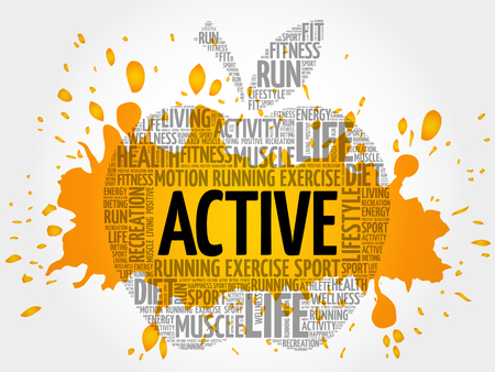 ACTIVE apple word cloud, health concept Illustration