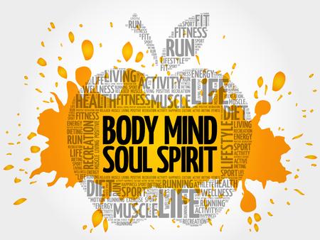 Body Mind Soul Spirit apple word cloud, health concept