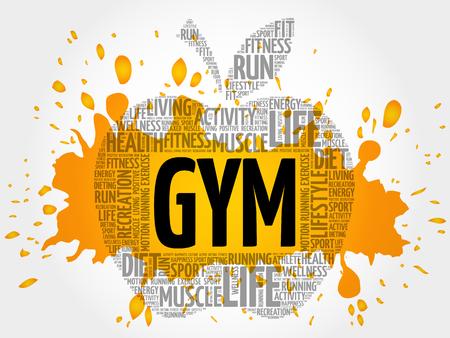 GYM apple word cloud, health concept