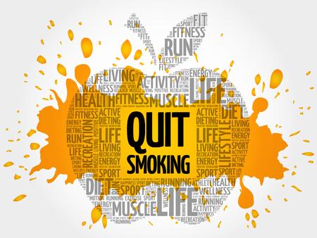 Quit Smoking apple word cloud, health concept Illustration