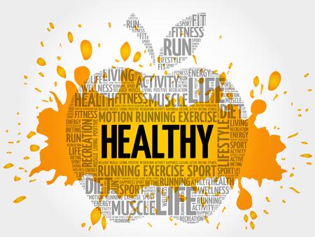 HEALTHY apple word cloud, health concept Stock Illustratie