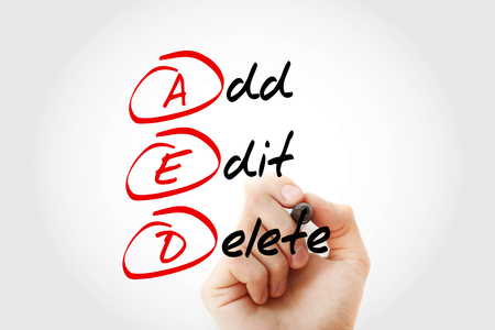 AED - Add, Edit and Delete, acronym business concept Stock Photo