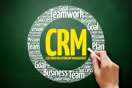 technology collage: CRM - Customer Relationship Management word cloud collage, business concept on blackboard