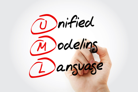 oriented: Hand writing UML - Unified Modeling Language acronym with marker, concept background Stock Photo