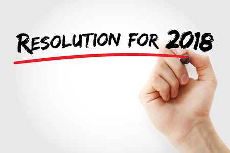 Hand writing Resolution for 2018 with marker, concept background Stock Photo