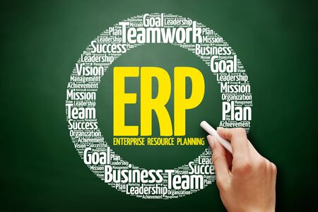 ERP - Enterprise Resource Planning word cloud collage, business concept on blackboard