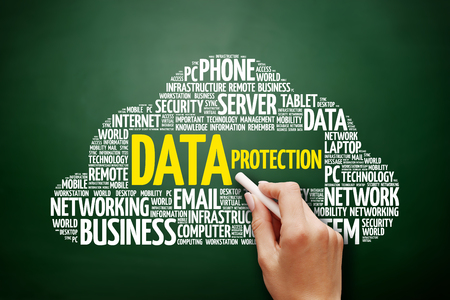 Data protection word cloud collage, technology concept on blackboard