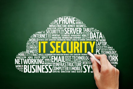 technology collage: IT Security word cloud collage, technology concept on blackboard Stock Photo