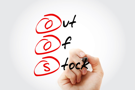 Hand writing OOS - Out Of Stock with marker, acronym business concept
