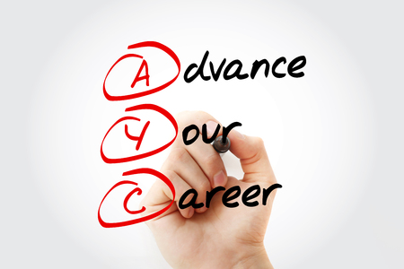 Hand writing AYC - Advance Your Career with marker, acronym concept Stock Photo