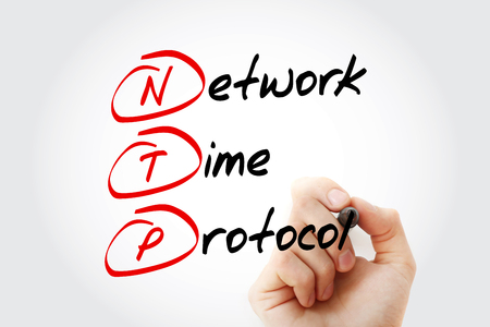 latency: Hand writing NTP - Network Time Protocol with marker, acronym business concept