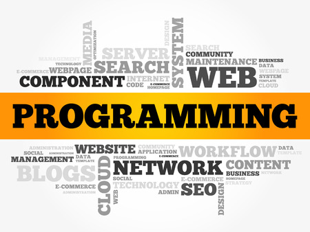 Programming word cloud, business concept background Illustration