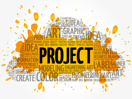 erp: PROJECT word cloud, creative business concept background Illustration