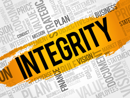 Integrity word cloud collage, business concept background