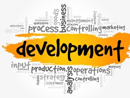 Development word cloud, business concept Illustration
