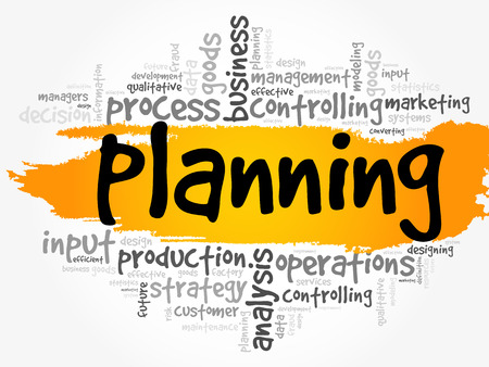 Planning word cloud collage, business concept background