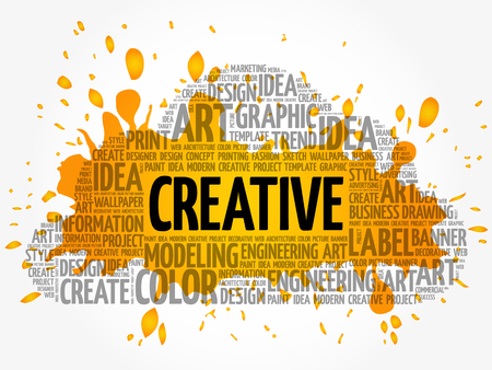 CREATIVE word cloud, creative business concept background Illustration