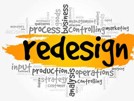 REDESIGN word cloud, business concept background