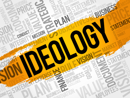 Ideology word cloud collage, business concept background Illustration