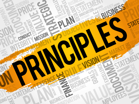Principles word cloud collage, business concept background