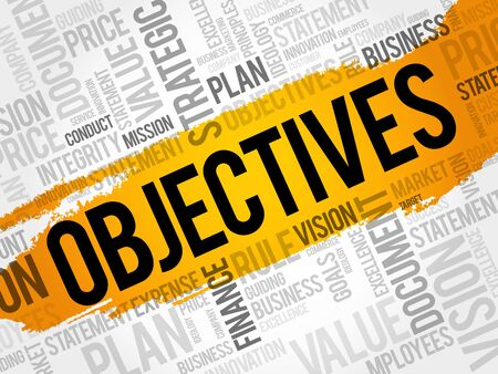 tactics: Objectives word cloud collage, business concept background