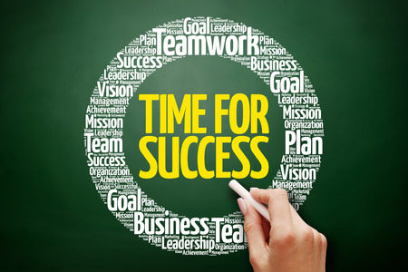 Time for Success word cloud collage, business concept on blackboard