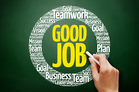 Good Job word cloud collage, business concept on blackboard