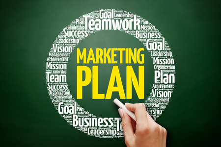 keyword research: Marketing Plan word cloud collage, business concept on blackboard Stock Photo