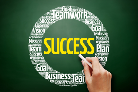 Success word cloud collage, business concept on blackboard