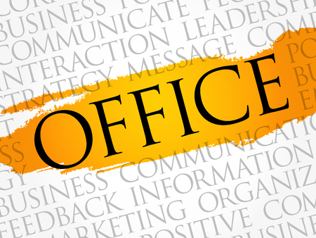 Office word cloud collage, business concept background