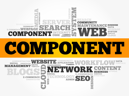 Component word cloud, technology business concept background Illustration